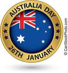 ausztrália, arany, ábra, vektor, címke, nap