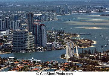 ausztrália, arany, -, lesiklik, láthatár, queensland, ...