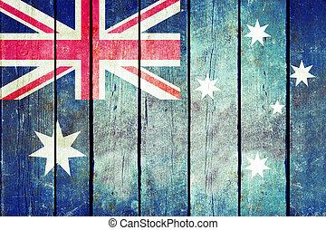 ausztrália, fából való, grunge, flag.