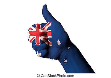 ausztrália, nemzeti lobogó, lapozgat feláll, gesztus, helyett, kiválóság, és, achi