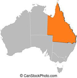 ausztrália, térkép, kijelölt, queensland