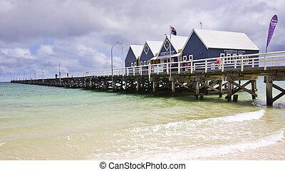 ausztrália, wa, móló, busselton, western, tengerpart, déli