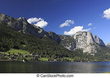 ausztria, hegyek, és, tó