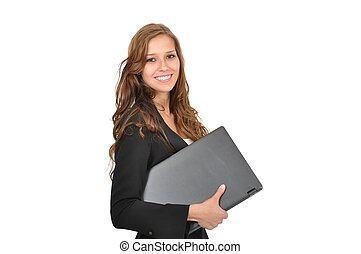 Auszubildende mit Laptop seitlich