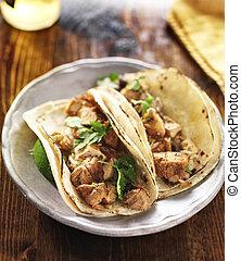 autêntico, cilantro, mexicano, galinha, tacos