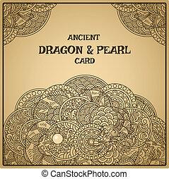 autêntico, pergaminho, oriental, dragão, com, pérola, cartão