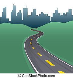 autóút, út, ív, város, épületek, láthatár