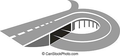 autóút, út, noha, bridzs, elvont, ikon