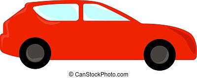 autó, ábra, piros white, vektor, háttér.