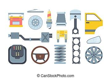autó, állhatatos, ábra, mechanikai, alkatrészek, lakás