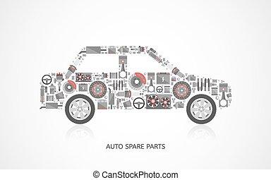 autó, állhatatos, alkatrészek