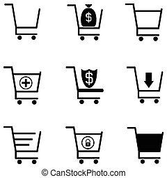 autó, állhatatos, bevásárlás, ikon