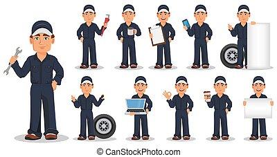 autó, állhatatos, egyenruha, szerelő, profi