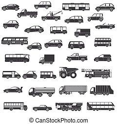 autó, állhatatos, fekete, ikonok