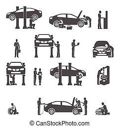 autó, állhatatos, fekete, szerelő, ikonok
