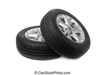 autó, állhatatos, két, studio., wheels.