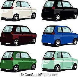 autó, állhatatos, különböző, kicsi, szín