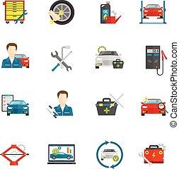 autó, állhatatos, lakás, szerelő, ikonok