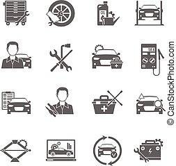 autó, állhatatos, szerelő, ikonok
