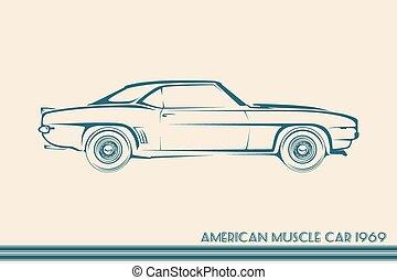 autó, árnykép, 60, amerikai, izom