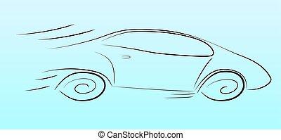 autó, árnykép, gyorshajtás