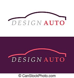 autó, árnykép, logo.