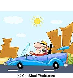 autó, átváltható, övé, vezetés, ember