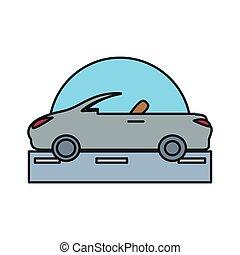 autó, átváltható, elszigetelt, út, ikon