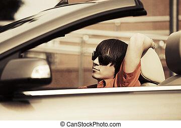 autó, átváltható, fiatal, vezetés, ember