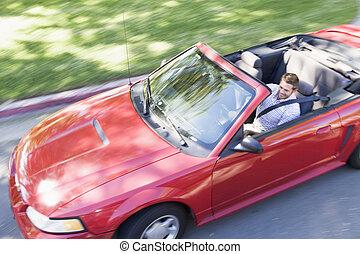 autó, átváltható, mosolygós, vezetés, ember