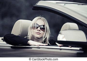 autó, átváltható, nő, fiatal, vezetés
