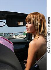 autó, átváltható, nő