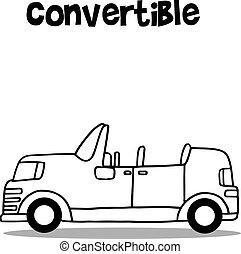 autó, átváltható, vektor, ábra