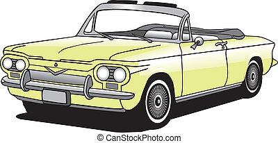 autó, átváltható, vektor, klasszikus