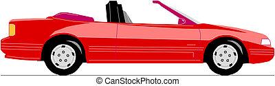 autó, átváltható, vektor, piros