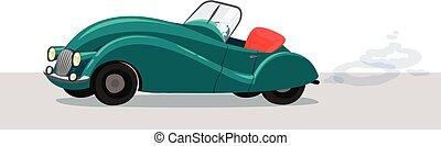 autó, átváltható, vektor, retro