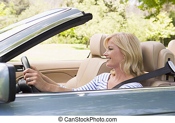 autó, átváltható, woman mosolyog