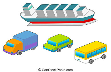 autó, és, hajó