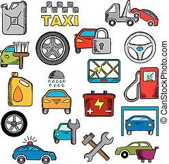 autó, és, rendbehozás, szolgáltatás, ikonok