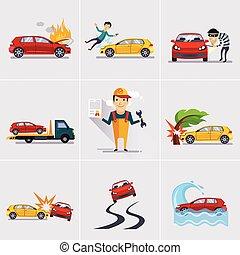 autó, és, szállítás, biztosítás