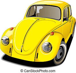 autó, ódivatú, sárga