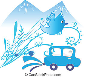 autó, ökológiai, vektor, háttér