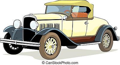 autó, öreg, elszigetelt