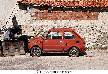 autó, öreg, európai, lakatlan
