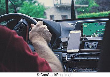 autó, öreg, szuper, vezetés, ember
