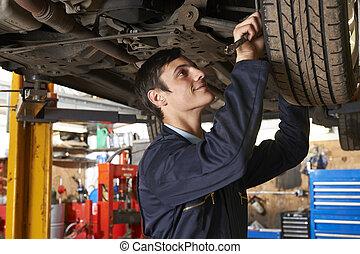 autó, újonc, szerelő, dolgozó, alatt