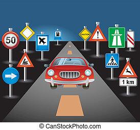 autó, út