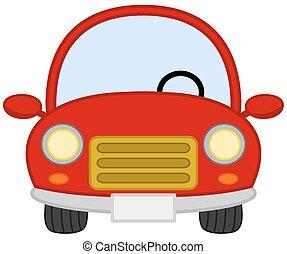 autó, üres, piros