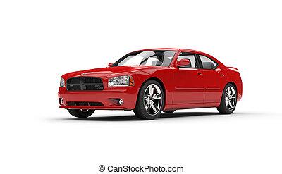 autó, 2, piros