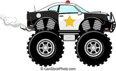 autó, 4x4, rendőrség, karikatúra, monstertruck